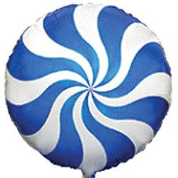 Globo de foil modelo caramelo candy en color azul de 45 centímetros