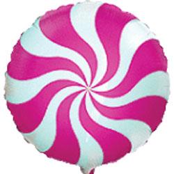Globo de foil modelo caramelo candy en color fuchsia de 45 centímetros