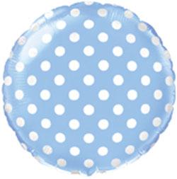 Globo de foil en forma redonda de 45 centímetros en color azul con tops blancos