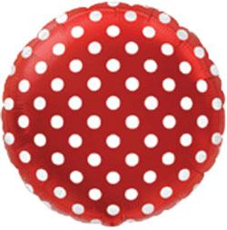 Globo de foil en forma redonda de 45 centímetros en color rojo con topos blancos