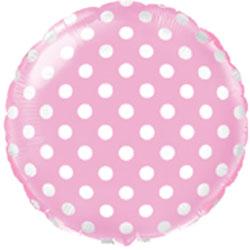 Globo de foil en forma redonda de 45 centímetros en color rosa claro con topos blancos