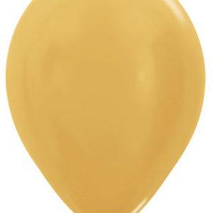 Globos de 30 centímetros, en color dorado satinado de la marca Sempertex