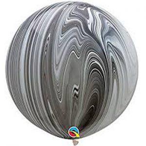 Globo de 80 centímetros, gama Agata, en colores blanco y negros de la marca Qualatex