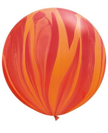 Globo de 80 centímetros, gama Agata, en colores rojo y naranja de la marca Qualatex