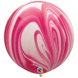 Globo de 80 centímetros, gama Agata, en colores blanco y rojo de la marca Qualatex