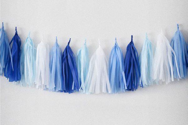 Tassels en colores bleu ciel, Bleu artique, bleu marine y blanc diseñados por Made With Lof