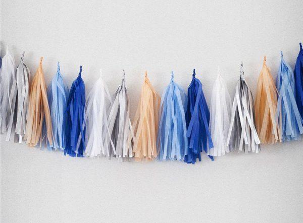 Tassels en color bleu marine, bleu ciel, peche, blanc y argent diseñados por Made With Lof