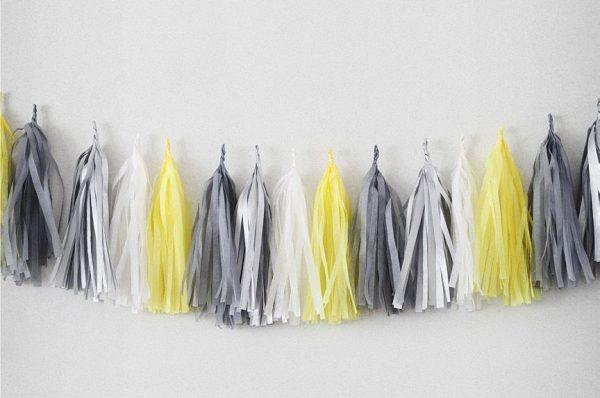 Tassels en colores gris perle, argent, blanc y citron diseñados por Made With lof