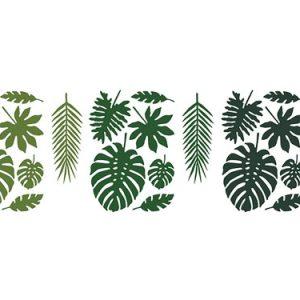 Pack de 21 hojas tropicales de papel en 5 medidas y 3 tonos de verde diferentes