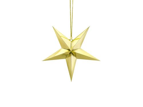 Estrella de papel 3D de cinco puntas, de 30 centímetros, en color dorado.