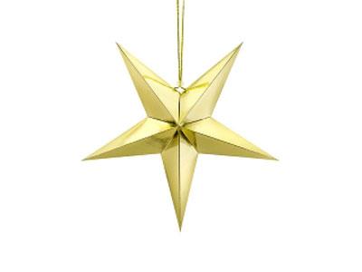 Estrella de papel 3D de cinco puntas, de 45 centímetros, en color dorado.