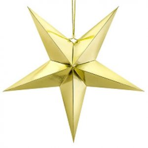 Estrella de papel 3D de cinco puntas, de 70 centímetros, en color dorado.