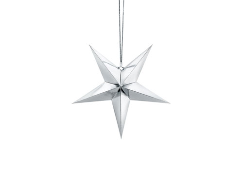 Estrella de papel 3D de cinco puntas, de 30 centímetros, en color plata.