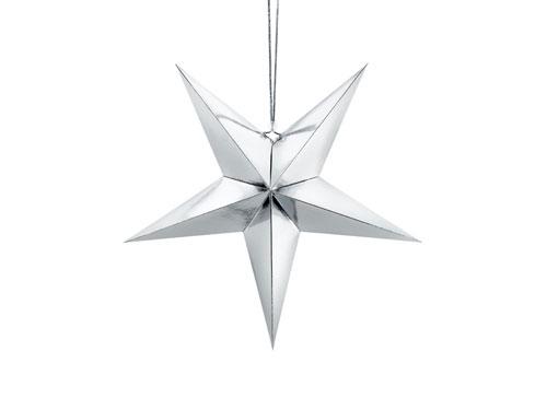 Estrella de papel 3D de cinco puntas, de 45 centímetros, en color plata.
