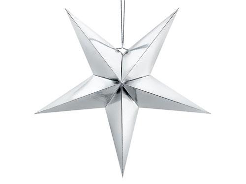 Estrella de papel 3D de cinco puntas, de 70 centímetros en color plata.