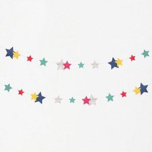 Guirnalda de 3 metros de papel con estrellas multicolor y plata, en diferentes tamaños diseñada por My Little Day