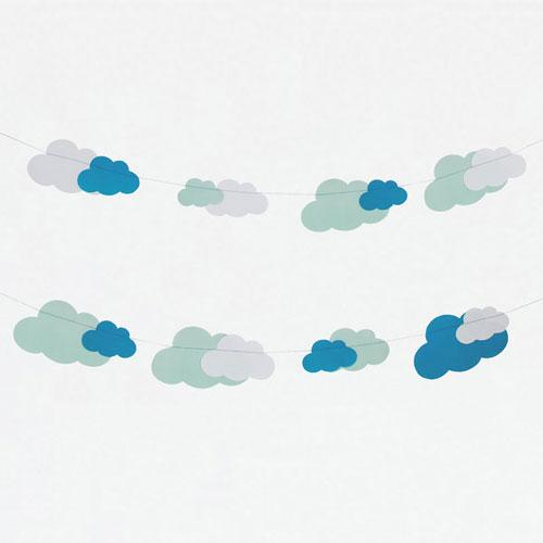 Guirnalda de 3 metros de papel con nubes de color blanco, azul y aqua diseñada por My Little Day