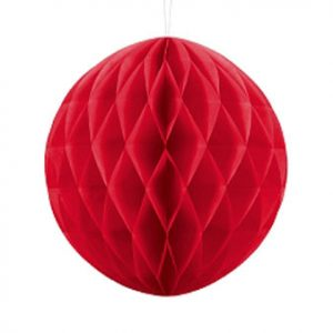 1 Honeycomb o, bola nido de abeja, en color rojo de 30 centímetros