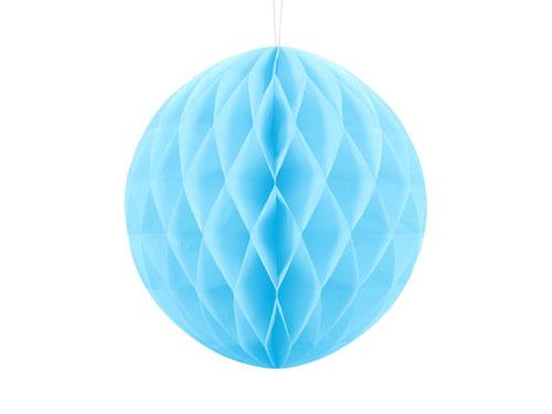 Honeycomb o, bola nido de abeja, en color azul cielo de 30 centímetros