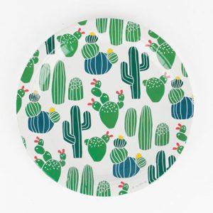 Platos de 23 centímetros en color blanco, con cactus