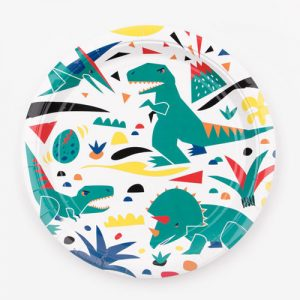 Platos de 23 centímetros en color blanco, con dinosaurios, diseñados por My Little Day