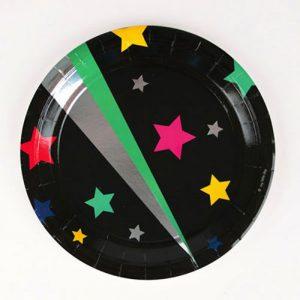 Platos negros con estrellas disco star