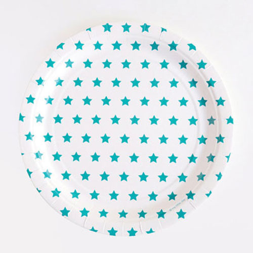 Platos de 23 centímetros en color blanco con estrellas azules