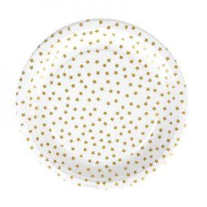 Platos de 23 centímetros en color blanco con estrellas doradas diseñados por My Little Day