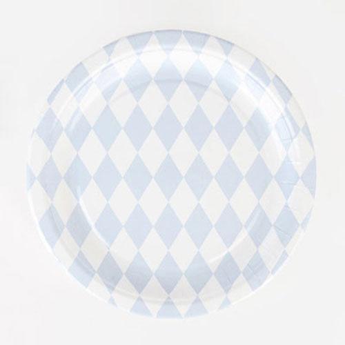 Platos de 23 centímetros con rombos azul claro y blancos