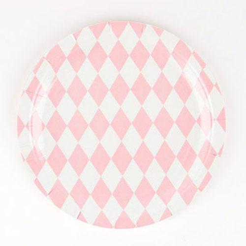 Platos de 23 centímetros con rombos rosas y blancos