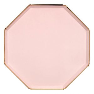 Platos en forma octogonal, en color rosa de 26 centímetros diseñados por Meri Meri