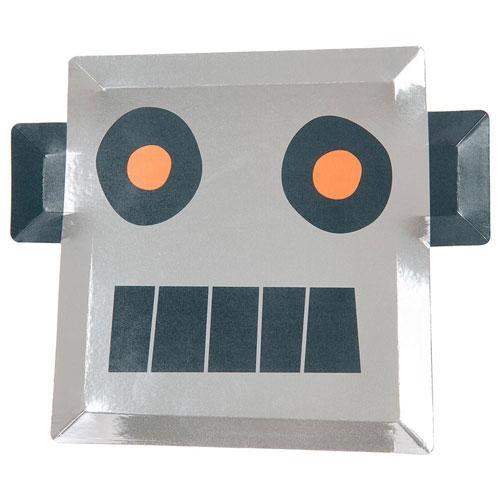 Platos cuadrados en forma de robot en color plateado diseñados por Meri Meri