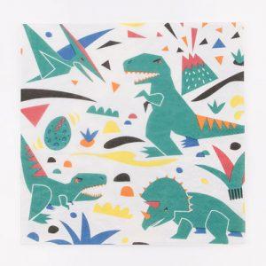 Servilletas blancas con divertidos dinosaurios diseñadoas por My Little Day