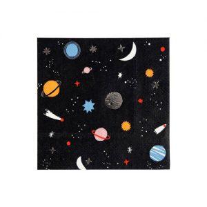Servilletas en color negro con motivos del espacio diseñadas por Meri Meri