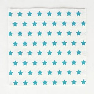 Servilletas en color blanco con estrellas azules diseñadas por My Little Day