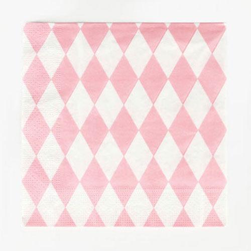 Servilletas con rombos blancos y rosa claro diseñadas por My Little Day