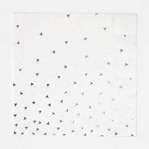 Servilletas en color blanco con triángulos plateados diseñadas por My Little Day