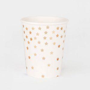 Vaso de color blanco con estrellas doradas diseñados por My Little Day