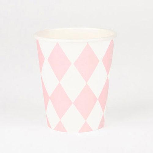 Vasos con rombo blanco y rosa pastel diseñados por My Little Day