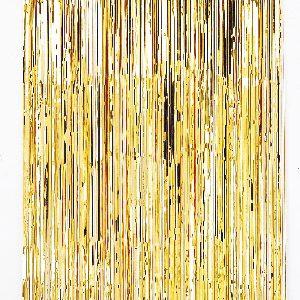 Cortina de 91 centímetros x 2,43 metros en color dorado