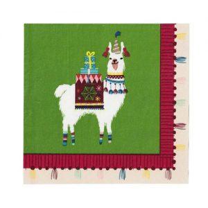 Servilletas navideñas con una divertida llama diseñadas por Talking Tables