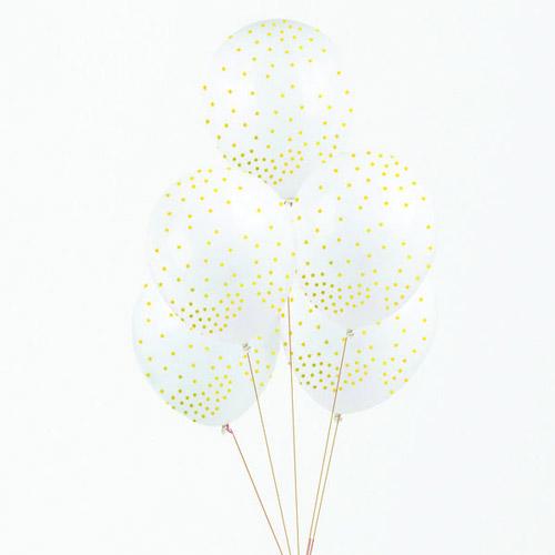 Globos de látes de 32 centímetros en color blanco con estrellas doradas