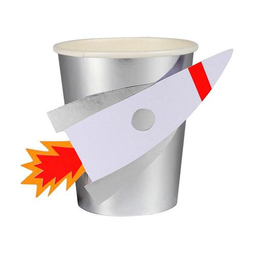 Vaso con divertido cohete en relieve diseñado por Meri Meri