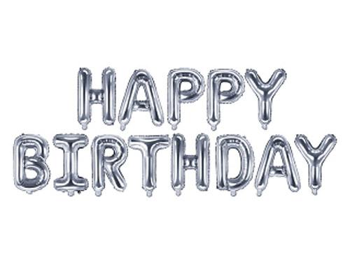 Guirnalda de globos de foil que forman la frase Happy Birthday