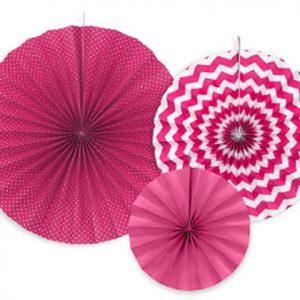 3 fans con estampados de diferentes tonalidades de rosa Son ideales para colgarlos del techo o de un photocall, bodas, comuniones, fiestas de cumpleaños y fiestas primaverales