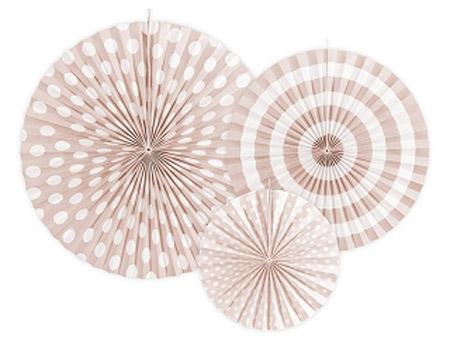 3 fans con estampados de diferentes tonalidades de color melocotón Son ideales para colgarlos del techo o de un photocall, bodas, comuniones, fiestas de cumpleaños y fiestas primaverales