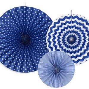 3 fans con estampados de diferentes tonalidades de azul Son ideales para colgarlos del techo o de un photocall, bodas, comuniones, fiestas de cumpleaños y fiestas primaverales