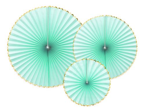 3 fans de color menta. Son ideales para colgarlos del techo o de un photocall o para bodas y fiestas de cumpleaños.