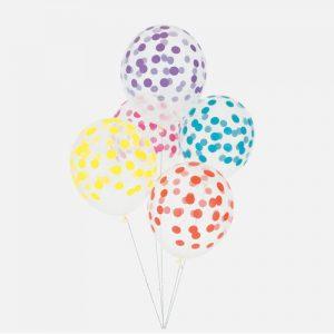 5 globos con topos (en forma de confetti) en color azul, rosa, lila, amarillo y rojo, diseñados por My Little Day.