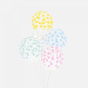 5 globos con topos (en forma de confetti) en colores pastel (azul, rosa, amarillo,verde y blanco) diseñados por My Little Day.